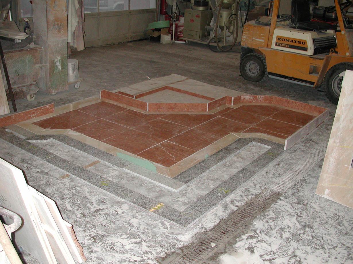 der Boden eines Badezimmers in der Werkstatt