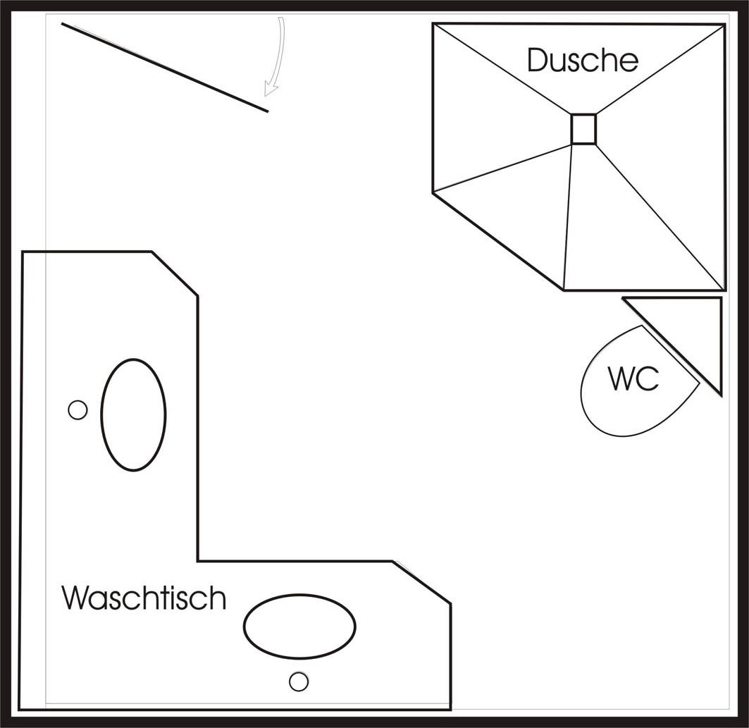 Grundriss eines Badezimmers, Skizze
