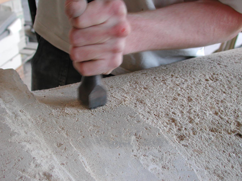Stein wird gestockt, Detailansicht